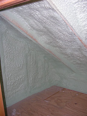 Spray foam roof deck and wall.